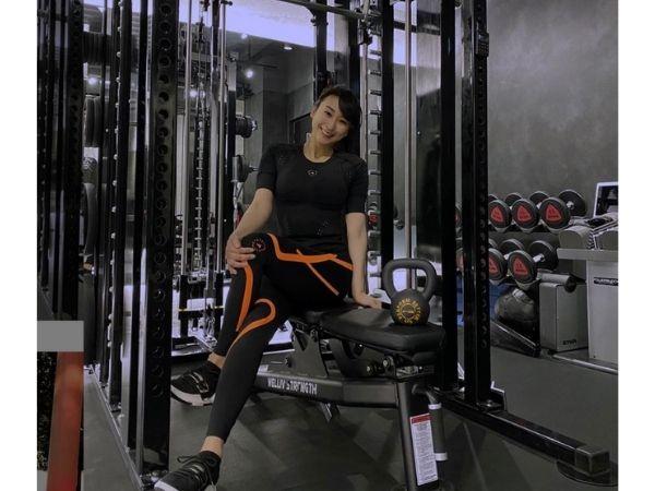 浅田舞のインスタ画像、トレーニングジムにて